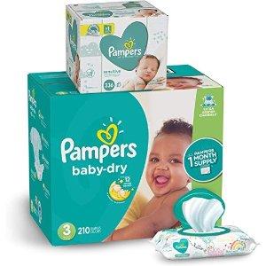 Pampers尿不湿3 号210 片+宝宝湿巾336 抽