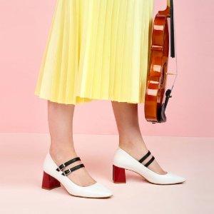 Nina Hauzer 撞色粗跟鞋