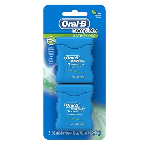 Complete SatinFloss Dental Floss, Mint, 50 M (54.6 yd), Pack of 2