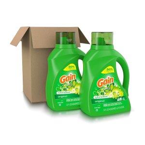 Gain Laundry Detergent Liquid Plus Aroma Boost, 75 oz, Pack of 2