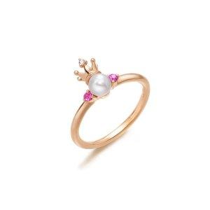 标价为港币,加币$36418K黄金Akoya珍珠戒指 |