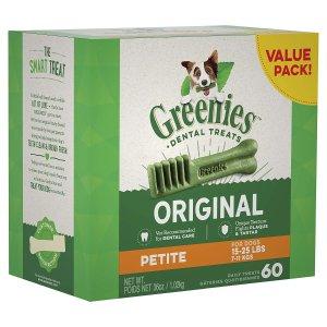 Greenies Dog Dental Chews Dog Treats - Petite 60 Treats