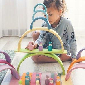 低至$18.99 给宝宝无限发挥空间最后一天:Grimm's 德国手工积木 神仙颜值 多种玩法 激发宝贝创造力