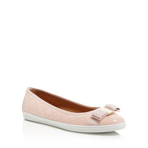 937019153 Salvatore FerragamoWomen's Rufina Quilted Cap Toe Leather Sneaker Flats