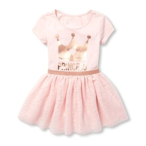 a751287470b The Children s PlaceBaby And Toddler Girls Short Sleeve Foil  Princess   Graphic Knit To Woven