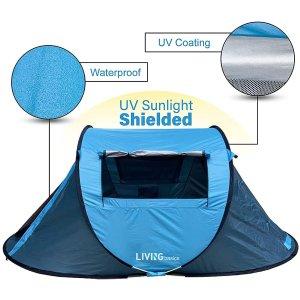 $69.99(原价$109.99)LIVINGbasics 自动弹起帐篷 防水防UV 户外必备