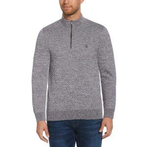 Original PenguinMarled Stripe Quarter Zip Sweater