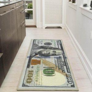 $9.32Ottomanson Siesta Collection 100 Dollar Bill Design Non-Slip Runner Rug @ Walmart
