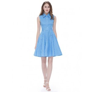 Alisa Pan Button Up Polka Dot Fit and Flare Dress