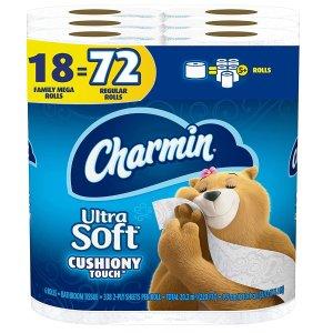 Charmin Ultra Soft Cushiony Touch Toilet Paper, 18 Family Mega Rolls