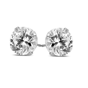 $6481/4 Carat TW Diamond Solitaire Earrings in 14K White Gold (H-I Color, SI2-SI3 Clarity)@ Szul