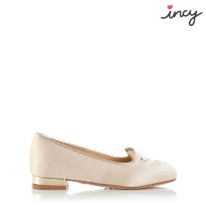 Charlotte OlympiaWomen's Designer Flat Shoes |- INCY KITTY SATIN