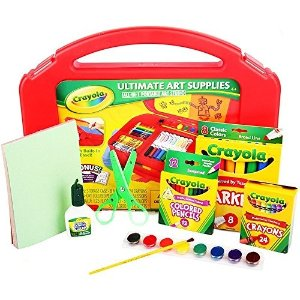 $9Crayola Ultimate Art Supplies for Kids with Tabletop Easel, Gift, 85 Pieces