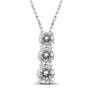 AGS Certified 1 Carat TW Three Stone Diamond Pendant in 14K White Gold @ Szul