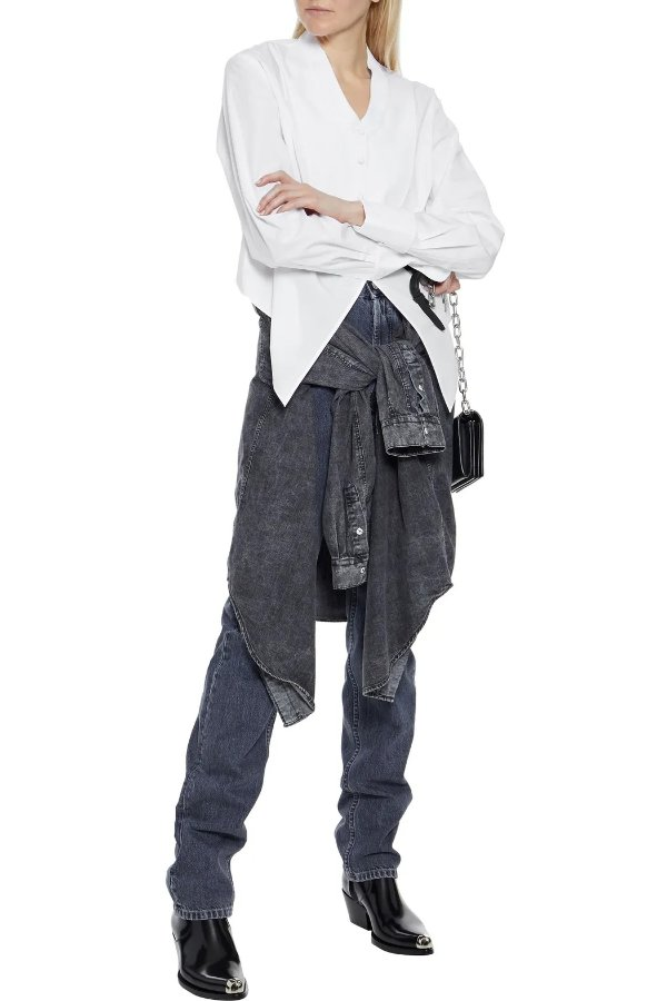 Cropped pique-paneled 燕尾衬衣