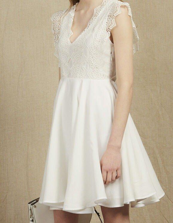 荷叶边蕾丝小白裙