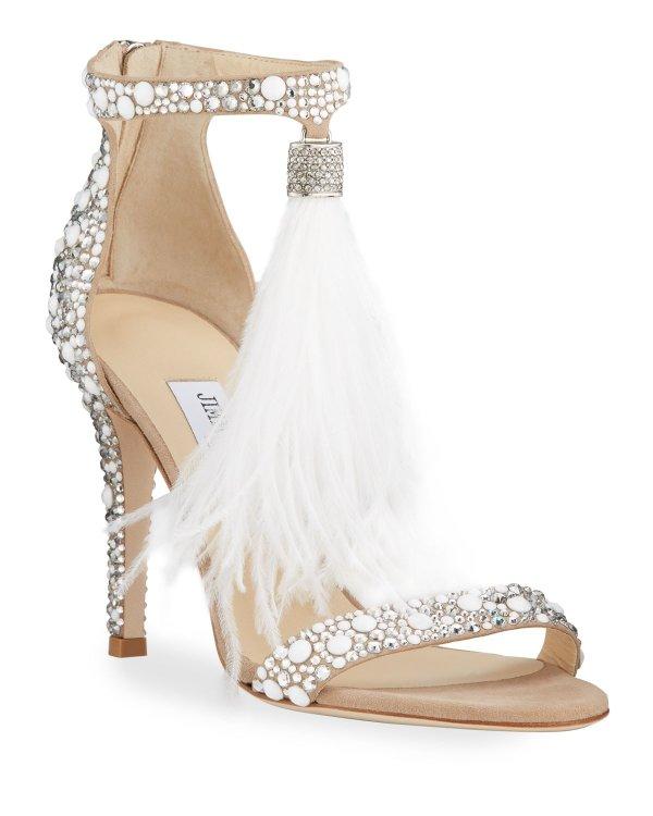 羽毛高跟鞋