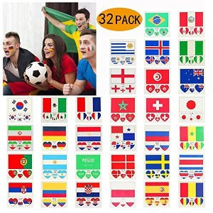 YIYEE Temporary Tattoos National Flags Waterproof 2018 World Cup Flag Face Body Tattoos Stickers 32 Countries Heart Shaped