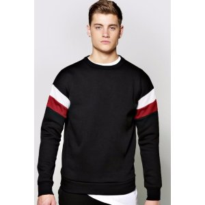 Jersey Panelled Sweater - boohooMAN
