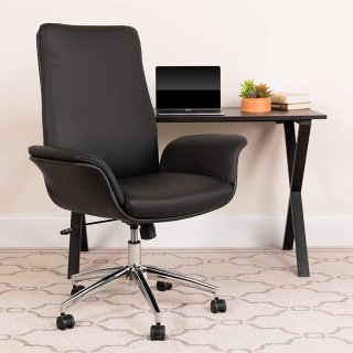 Flash Furniture Mid-Back Black Leather Executive Swivel Office Chair with Flared Arms