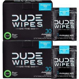 DUDE 可冲洗清洁湿巾 30x2