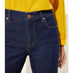 LOFTCurvy Straight Leg Jeans in Dark Rinse Wash   LOFT