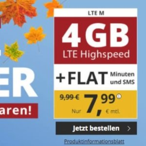 代号入网再送10欧送1GB流量+免接通费 包月全网电话/短信+4GB高速流量 月租€7.99