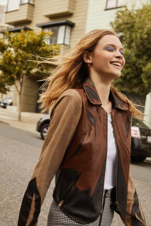 UO Leather Colorblock Jacket | Urban Outfitters