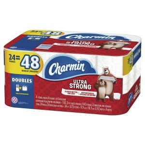 $11.99(原价$20.99) 24大卷装史低价:Charmin 强韧厕纸 大容量 1个顶俩