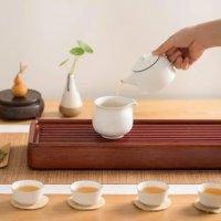 LIFEASE 6件不透明白玉茶具