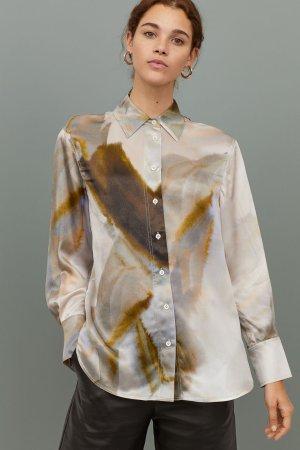 Patterned Silk Shirt - Cream/patterned - Ladies | H&M US