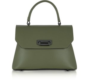 Le Parmentier Lutece Small Military Green Leather Top Handle Satchel Bag