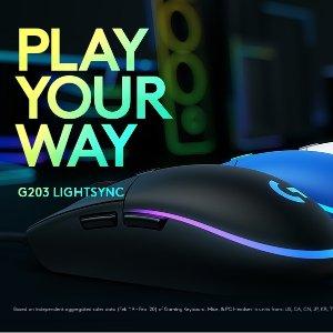 $39.99(原价$49)罗技 G203 Lightsync 游戏鼠标 经典升级