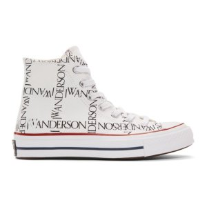 JW Anderson- White Converse Edition Grid Logo Chuck 70 Hi Sneakers
