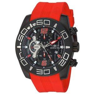 $114.74(原价$521.25)史低价:Invicta 男士防水石英不锈钢休闲手表 红色硅胶表带