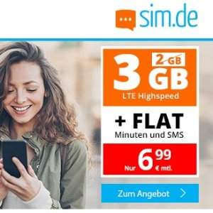 每月可kun 代号入网奖励10欧包月电话+短信 每月3GB LTE 月租仅6.99欧