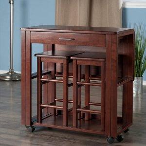 $247.9免邮Winsome Wood 94331 Fremont 胡桃木桌椅3件套