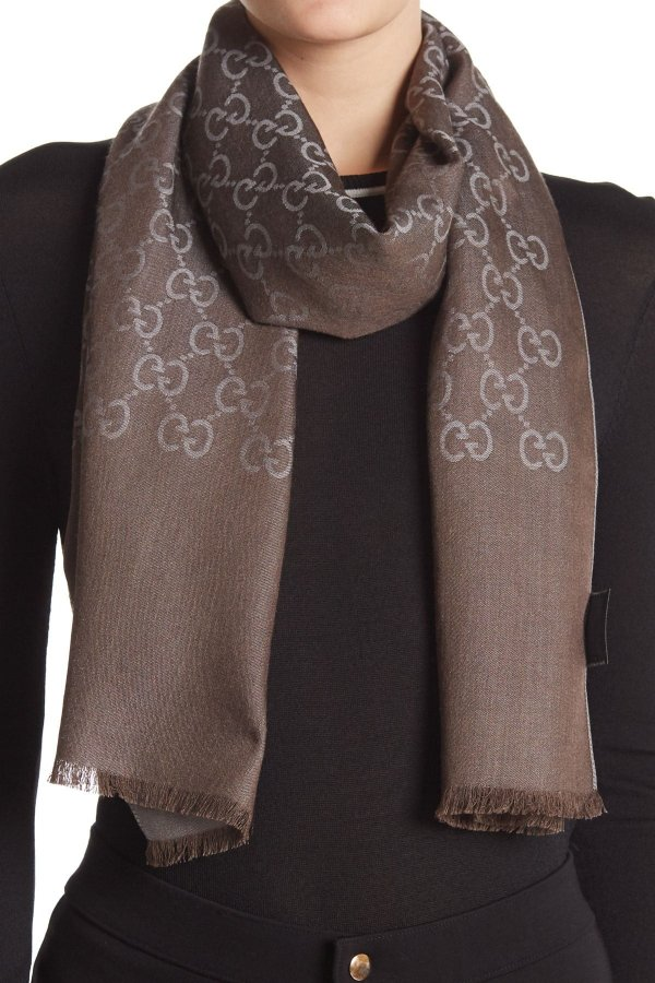 GG 羊毛丝质混纺围巾