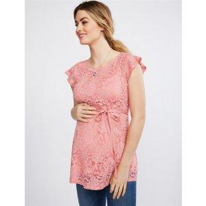 MotherhoodGender Reveal Lace Peplum Maternity Top