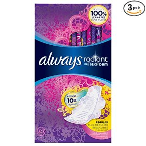 alwaysRadiant Regular Feminine Pads with Wings, Scented, 30 Count - Pack of 3 (90 Total Count)