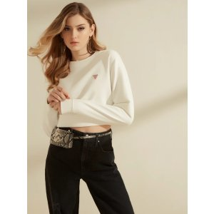 Cropped Logo Crewneck Sweatshirt at Guess