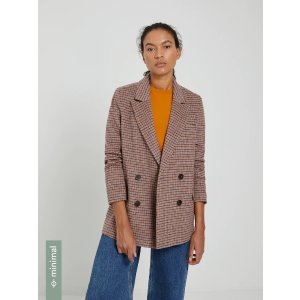 Frank And OakHoundstooth Double-Breasted Blazer in Brown