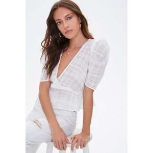 Forever21Gauze-Woven Puff Sleeve Top