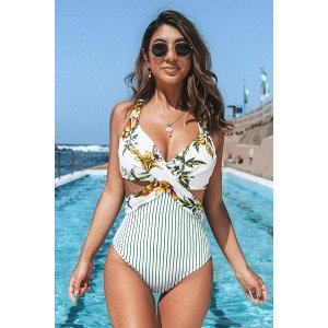 Cupshe17% off $50White Floral and Stripe One Piece Swimsuit