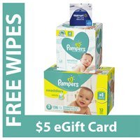 Extra $5 Off ! Free $5 Gift Card + Wipeswith Purchase of Pampers Swaddlers Diapers @ Walmart