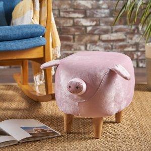 $57.79GDF Studio 粉色猪猪丝绒抬脚凳