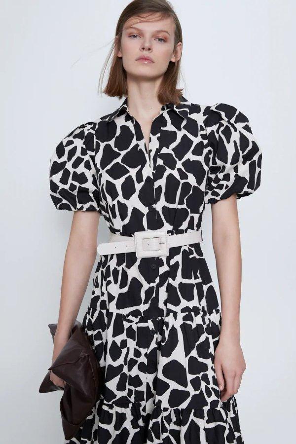 动物印花连衣裙