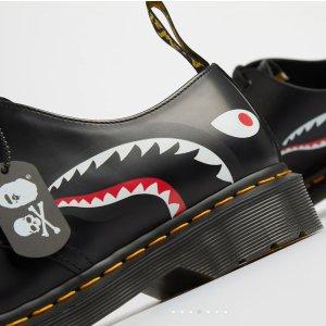 定价€245 鲨鱼+骷髅1461小皮鞋预告:Dr Martens X BAPE X MASTERMIND三方联名即将开售