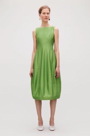 COTTON-SILK COCOON DRESS - Green - Dresses - COS