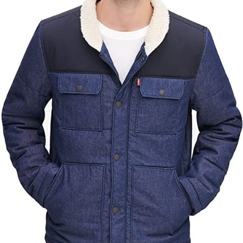 Levi'smens Quilted Mixed Media Shirttail Work Wear Puffer Jacket